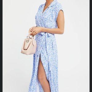 Free People So Fetch Slit Midi Dress Blue size 0